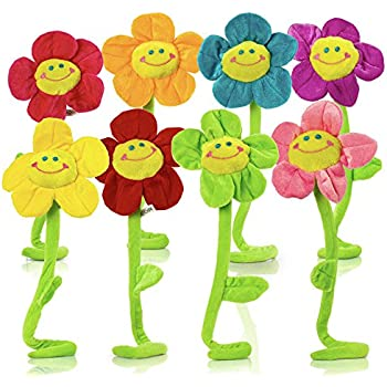 plush daisy flower with smiley happy faces colorful soft bendable stems  sunflower toy for kids gift