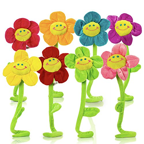 Plush Daisy Flower With Smiley Happy Faces Colorful Soft Bendable Stems Sunflower Toy For Kids Gift Decorations 18