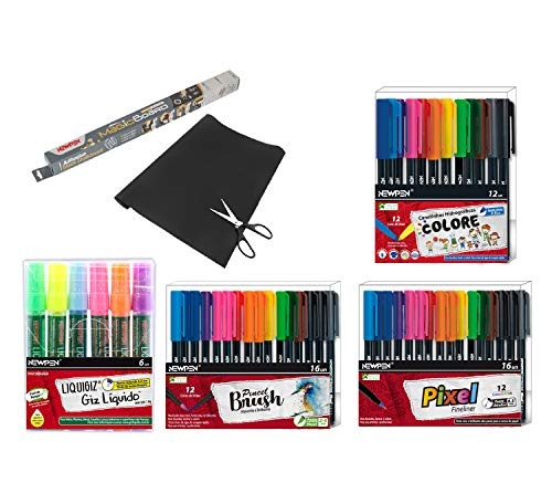 Kit Lettering Newpen - Contem 1 Kit Brush 16 Unidades - 1 Kit Ultrafin