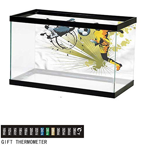 (bybyhome Fish Tank Backdrop Boys Room,Soccer Player Goalkeeper,Aquarium Background,48