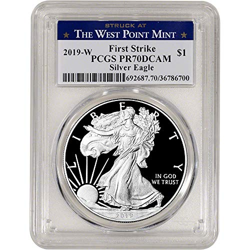 2019 W American Silver Eagle Proof First Strike West Point Label $1 PR70 PCGS DCAM