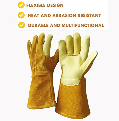 Leather gloves multipurpose, for handling animals, pets, dogs, cats, birds, use in gardening, construction, welding, ovens and - Gloves Animal