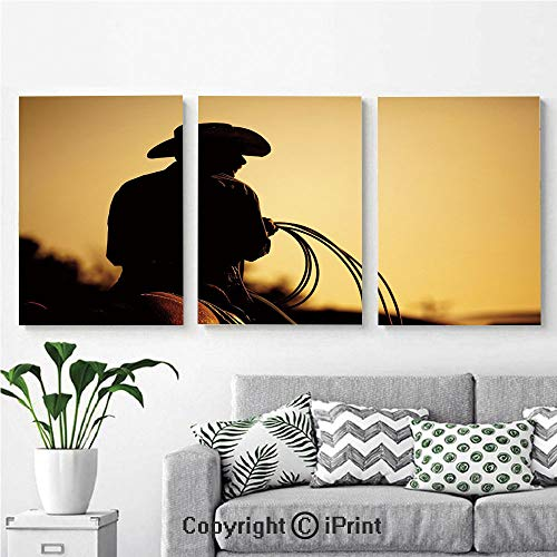 Wall Art Decor 3 Pcs High Definition Printing Cowboy with Lasso Silhouette at Small Town Rodeo Theme American USA Culture Decorative Painting Home Decoration Living Room Bedroom Background,16