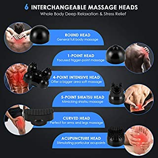 MOICO Handheld Back Massager - Cordless Electric Deep Tissue Percussion Massage with 10 Speeds, 12 Modes & 6 Interchangeable Nodes for Neck, Shoulder, Arms, Waist, Leg, Foot, Full Body Pain Relief
