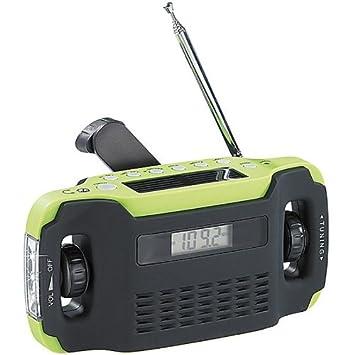 Radio solar y dinamo en cofre (FM/AM, cargador USB, con hora ...