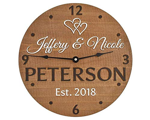 """11"""" wooden wall clock personalized for couple. Custom made wood anniversary gift for wife and husband. Unique gift idea for bridal shower, engagement, wedding, or housewarming!"""