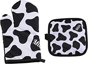 Yohomai Oven Mitts and Pot Holders Sets for Kitchen - Heat Resistant BBQ Oven Gloves - Polyester Printing Non-Slip Surface with Soft Cotton Lining for Cooking Baking Grilling - Set of 2