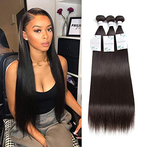 10A Straight Hair Bundles 3 Bundles 100% Unprocessed Brazilian Human Hair Weave Soft Straight Bundles Natural Black Color (10 12 14 inch)