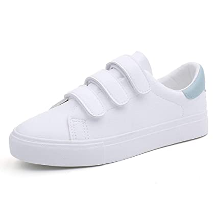 YOPEW Zapatos para Mujer Zapatillas Zapatillas de Lona con Color Caramelo Gancho y Lazo Zapatillas Blancas