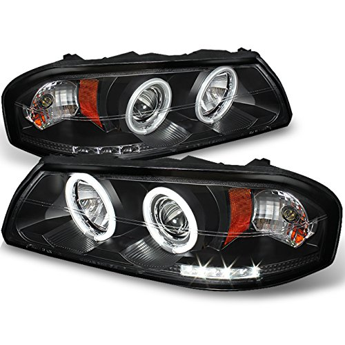 Chevy Impala SS Black Bezel Dual CCFL Halo Ring LED Design Projector Headlights Front Lamps Pair Impala Halo Projector Headlights