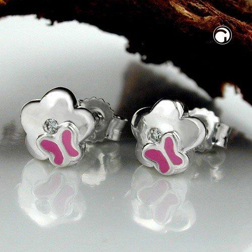 Boucles d'oreilles pour enfants fleur de papillon avec zircone argent véritable 6,5 mm stud