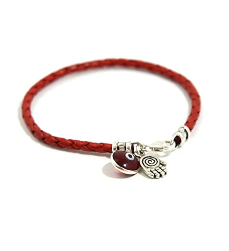 a474e43c19d7 Pulsera de cuero trenzado de color rojo, con abalorios de mano de Fátima y  mal de ojo, de plata de ley, 20 cm