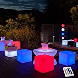 YESIE 16-Inch Cordless LED Cube Chair Light, New Removable and Easy Charging LED Module,Corlor Changing and Rechargeable LED Cube for Adult