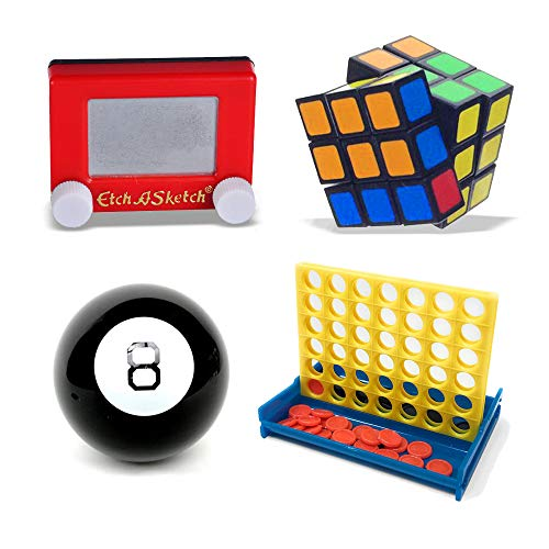 Worlds Smallest Bundle Rubiks Cube, Magic 8 Ball, Etch a Sketch and Pixiss Mini 4 In A Row Game