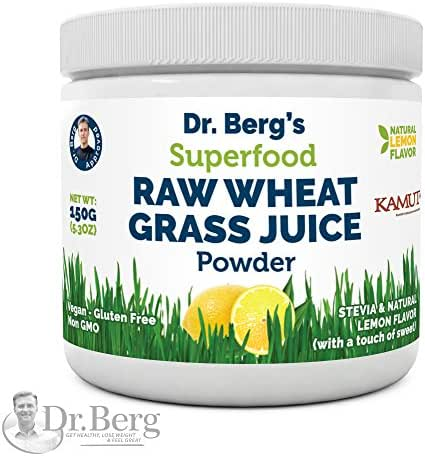 Dr Berg's Lemon Wheatgrass Green Powder with KamutTM - Organic Raw & Ultra-Concentrated Nutrients - Rich in Vitamins, Superfood, Chlorophyll & Trace Minerals (1 Pack)