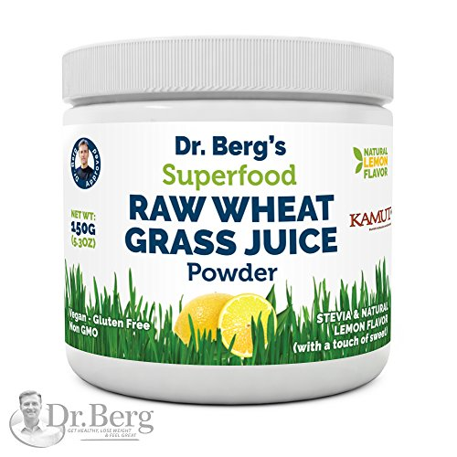 Dr. Berg's Natural Lemon Flavored Wheat Grass Powder with KamutTM -Raw & Ultra-Concentrated Nutrients -Rich in Vitamins, Chlorophyll & Trace Minerals (1 Pack) (Benefits Of Moringa Leaves In Weight Loss)