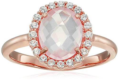 Sapphire Ring Rose (14k Rose Gold Plated Sterling Silver Genuine Rose Quartz and Created White Sapphire Halo Oval Ring, Size 8)