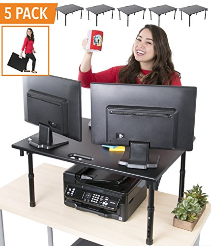 (Stand Steady 5 Pack - Best Value Large Portable Folding Standing Desk | Bundle of 5 | Heavy Duty and Easy Storage | Perfect for Library Standing Desk, Schools, Offices, and More! (5 Pack - Executive))