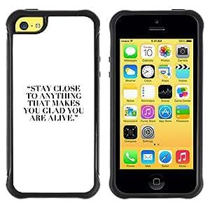 Suave TPU Caso Carcasa de Caucho Funda para Apple Iphone 5C / Hobby Quote Motivational Inspiring White / STRONG
