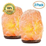 mockins 2 Pack Natural Hand Carved Himalayan Salt Lamp with Beautiful Wood Base - Includes Light Bulb and On and Off Switch | Great Room Decor and Night Light 6-8' tall