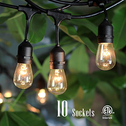 Outdoor String Lights with 10 Dropped Sockets, SHINE HAI UL-listed for Commercial and Industrial Use Linkable Light Strings, Perfect for DIY with 48 FT Length Patio Lights, 14 FT (Commercial String Lighting compare prices)