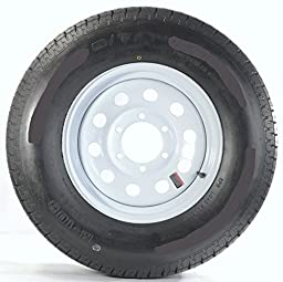 Radial Trailer Tire & Rim 39551 ST225/75R15E 2830# 15X6 6-5.5 Modular White