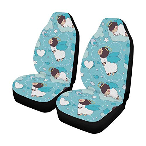 INTERESTPRINT Cute Cartoon Angels Baby Heart Valentine's Day Auto Seat Covers 2 pc, Bucket Seat Protector Car Seat Cushions for Car, SUV, Truck or Van ()