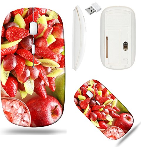 Liili Wireless Mouse White Base Travel 2.4G Wireless Mice with USB Receiver, Click with 1000 DPI for notebook, pc, laptop, computer, mac book Healthy fruit salad with strawberry grape apple and kiwi h