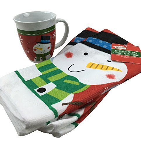 Happy Snowman Mug and Kitchen Towel Set - Holiday or Christmas Gift