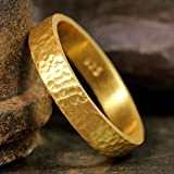 4mm Wedding Band 24K Yellow Gold Vermeil 925 Sterling Silver Hand Forged Hammered Mens Women Unisex Flat Pipe Cut Thick Handmade Ring - FREE Engraving