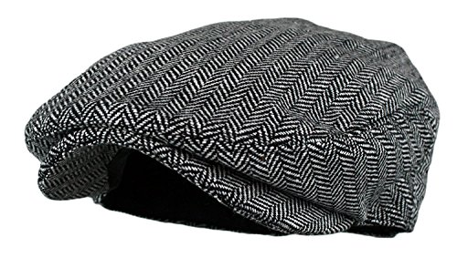 (Wonderful Fashion Men's Classic Herringbone Tweed Wool Blend Newsboy Ivy Hat (Grey, LXL))