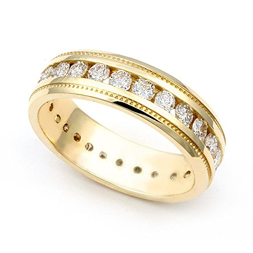 14k Yellow Gold Channel set Diamond Eternity Milgrain Wedding Band Ring (G-H/SI, 1 3/5 ct.), 7.5