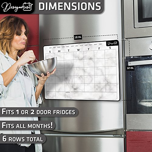 Designorize Marble Dry Erase Magnetic Calendar for Refrigerator with Markers and Eraser (5-Piece Set) Daily, Weekly, Monthly Organizer | Stain Resistant Surface | Home and Office Organization by Designorize (Image #2)