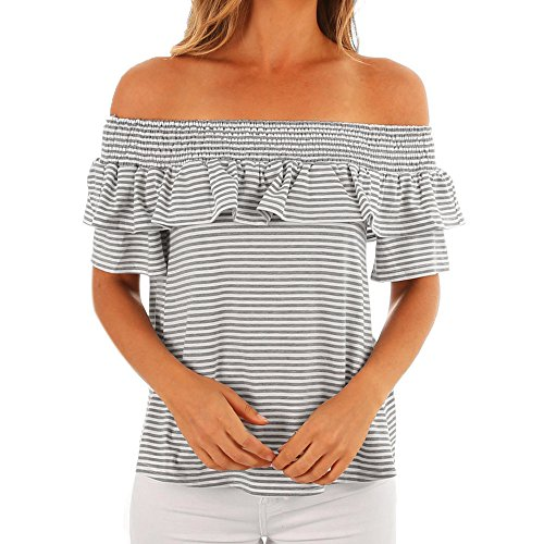 - Wintialy Womens Casual Stripe Print Off Shoulder Tops Short Sleeve T-Shirt Blouse Gray