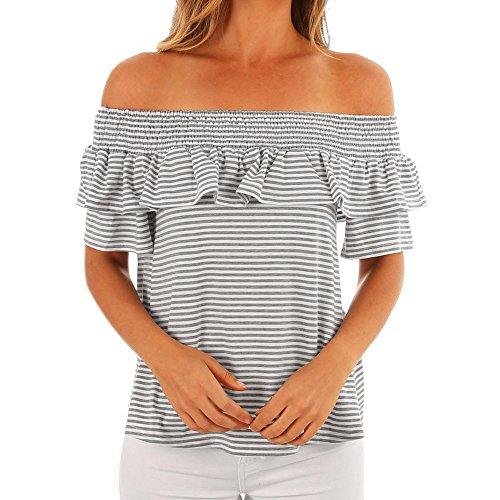 SMALLE Womens Fashion Slash Neck Ruffles Casual Stripe Print Off Shoulder Tops Short Sleeve T-Shirt Blouse (S, Gray)