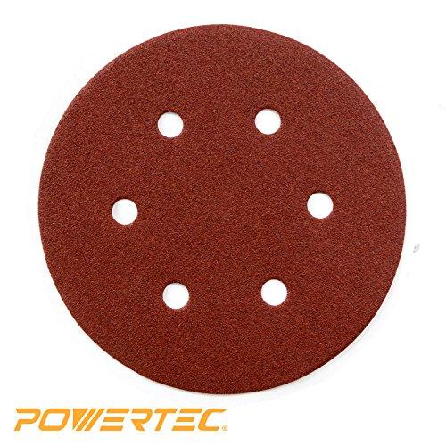 POWERTEC 45204 40 Grit 6 Inch Sanding Disc | 6 Hole Hook and Loop Backing Pad | Aluminum Oxide Round Sandpaper Disc for Random Orbit Sander – 25 Pack