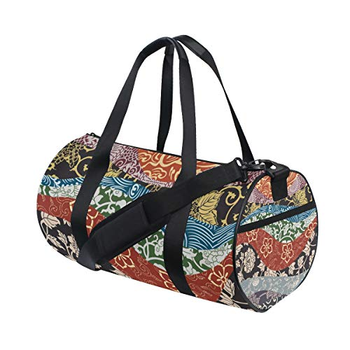 ALLMILL Lightweight Duffle bag Japanese Traditional Style Fabric Patchwork Wallpaper Gym bags Oversize Sports bags weekend Overnight Travel handbag for men women student