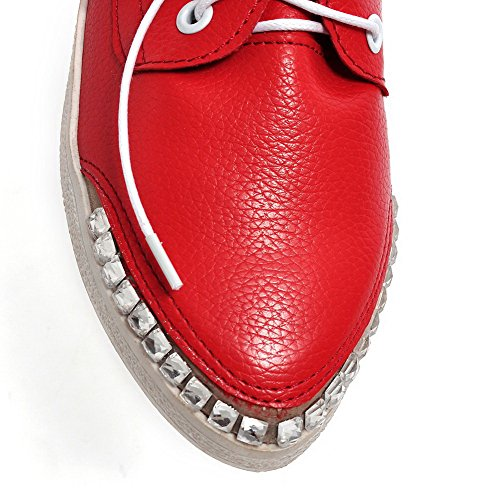 Low Pointed Womens Solid Red Shoes Closed Up Lace PU Heels Pumps AllhqFashion Toe Aq8wxXgA