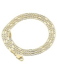 10K Yellow Gold 2mm Diamond Cut Figaro Chain Necklace Lobster Clasp