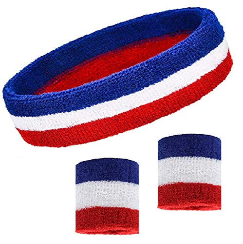 Kenz Laurenz Sweatband Set Cotton Sports Headband Terry Cloth Wristband Moisture Wicking Sweat Absorbing Head Band Athletic Exercise Basketball Wrist Sweatbands and Headbands (Red White Blue) ()
