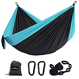 Sunyear Hammock Camping Lightweight Portable Nylon Hammock with 2 Tree Straps (32 Loops,10 ft) & 2 D-Shape Steel…