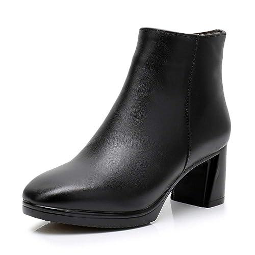 Zipper Martin Botas para Mujer Botines De Cuero Negro Señoras Bloque De Tacón Alto Botines Zapatos Oficina Vestido Botas Zapatos,Black-EU:40/UK:7: ...