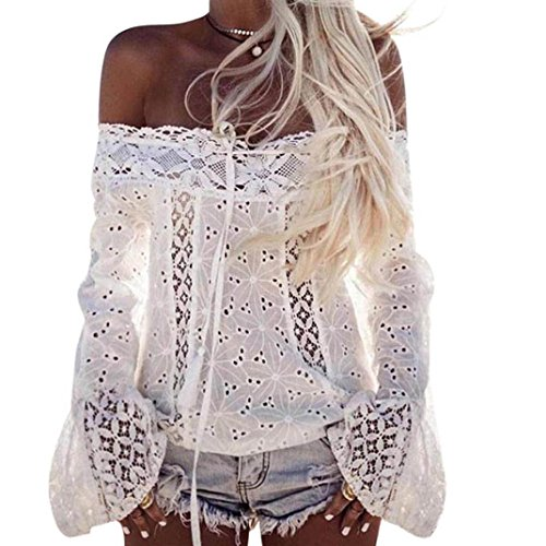 Price comparison product image Hot sales!LTUI Elegant Sexy Women Off Shoulder Long Sleeve Lace Loose Blouse Tops T-Shirt for Daily Office Work Travel Shopping (XXXL,  White)