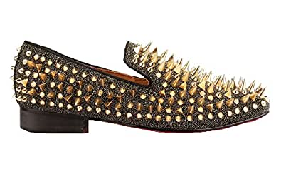 Gold Rhinestone Spiked Penny Loafers Long Rivet Sparkly Slip-on