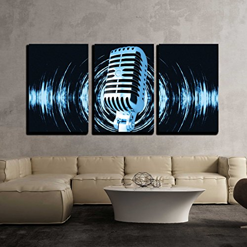 wall26 - 3 Piece Canvas Wall Art - Vintage microphone on the abstract background - Modern Home Decor Stretched and Framed Ready to Hang - 16