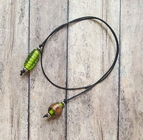 - Beaded Handmade Book Thong Green Bronze Glass Beads | Bookmark | Unique