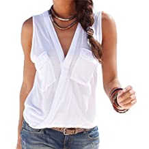 Smibra Womens Sexy Sleeveless Wrap Front V Neck Tank Shirt Blouse Top With Pocket