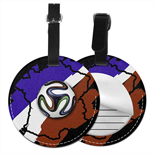 - XPEACH Uropean Championship Football Flag France Ball Round Luggage Tags Personalized Suitcase Labels PU Leather