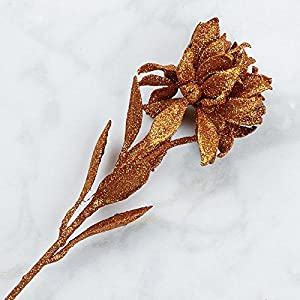Factory Direct Craft Copper Glittered Artificial Double Poinsettia Sprays for Indoor Decor - 4 Stems 106