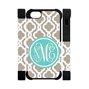 Custom White Tan Teal Quatrefoil Monogram IPhone 5/5S Two-In-One Rubber+Plastic Cover Case